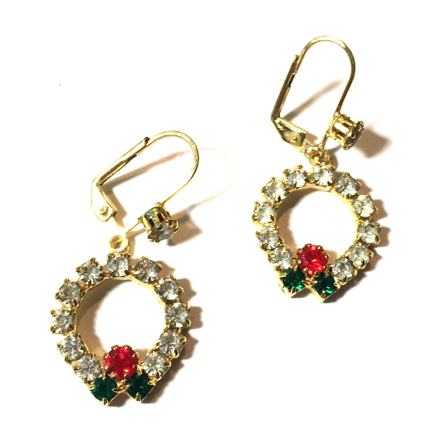 Dangling Green and Red Rhinestone Wreath Earrings circa 1970s