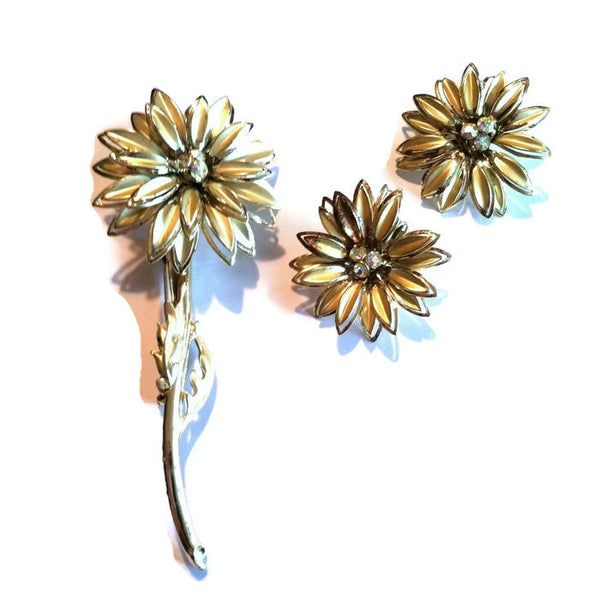 Bold Gold Flower Statement Brooch and Earrings w/ Rhinestones circa 1960s