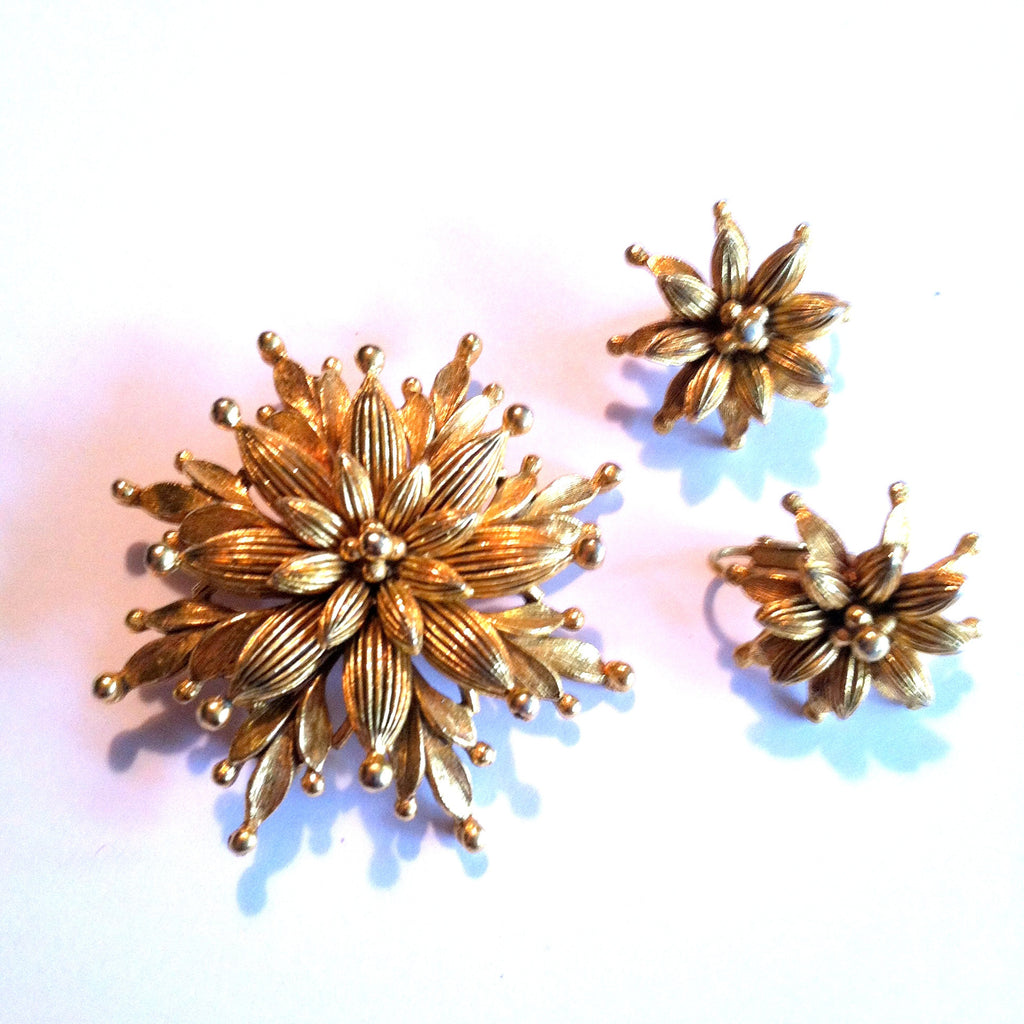 Gilded Flower Brooch and Earring Set Vendome circa 1960s