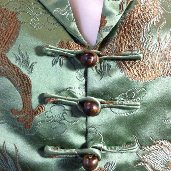 SALE Asian Glamour Green Silk Damask Cocktail Jacket circa 1960s