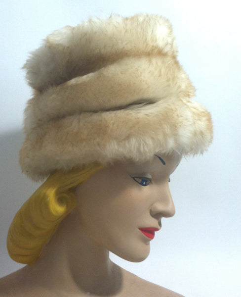 Mr. D Mod Shearling Tall Bucket Hat circa 1960s