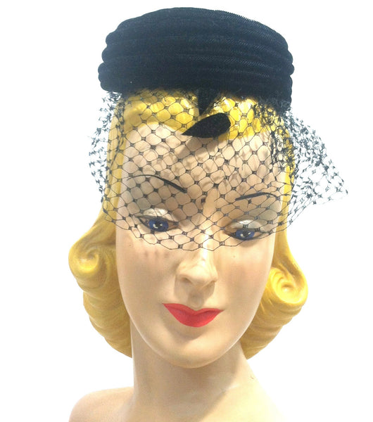 Spiral Swirl Black Velvet Cocktail Hat w/ Veil and Appliques circa 1960s Dorothea's Closet Vintage Hat