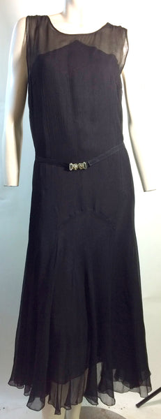 Glamorous Black Crepe Silk Chiffon Dress with Rhinestone Belt and Full Sleeves circa 1930s