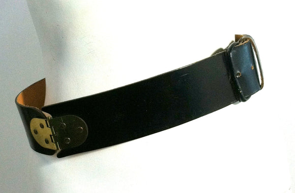 Black Leather Belt w/ Gold Tone Metal Hinges circa 1960s