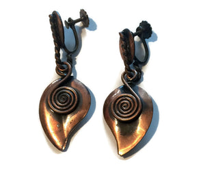 Moderne Coil and Leaf Copper Dangle Clip Earrings circa 1940s
