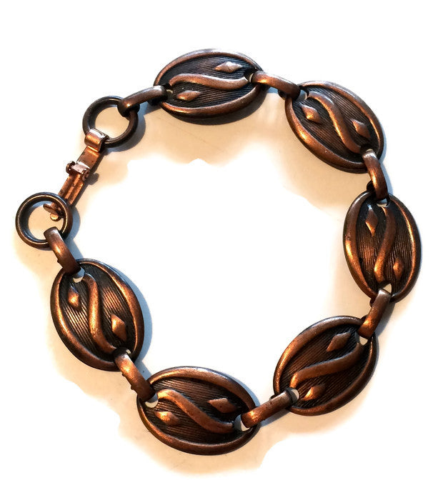 Classic Copper Link Abstract Design Bracelet circa 1940s