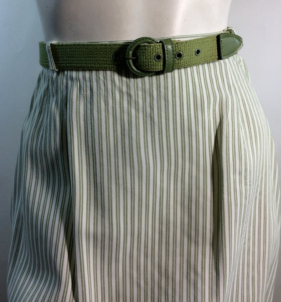 Seersucker Sage Green and White Striped Suit circa 1960s