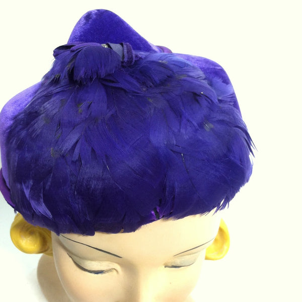Royal Purple Feathered Peaked Hat circa 1950s