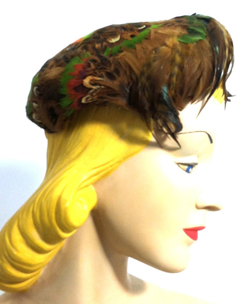 Jewel Tone Pheasant Feather Wired Hat circa 1950s