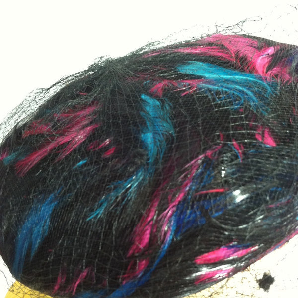 Magenta and Blue Swirled Feather Black Hat w/ Veiling circa 1960s