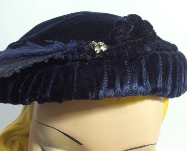 Sapphire Blue Velvet Cocktail Hat with Feather and Rhinestones circa 1950s