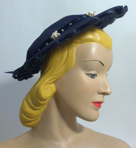 Glamorous Blue Beaded Wide Brim Hat w/ Sisal Loops circa 1940s