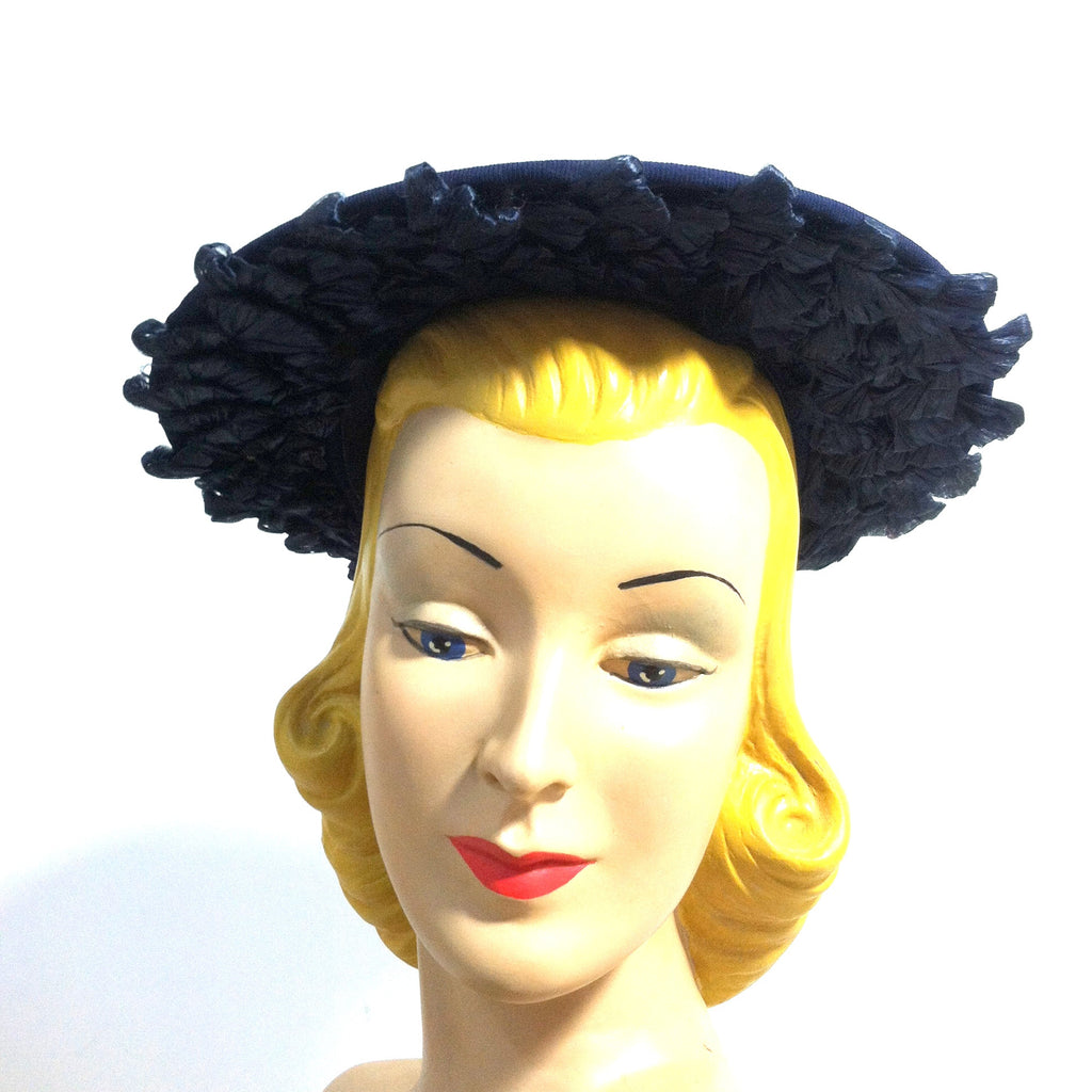 Glamorous Blue Beaded Wide Brim Hat w/ Sisal Loops circa 1940s Dorothea's Closet Vintage Hat