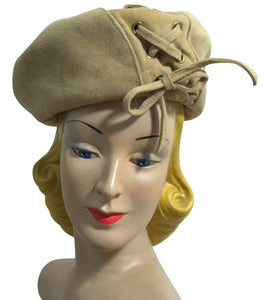 Unusual Tan Suede Lace-Up Beret Inspired Hat circa 1940s