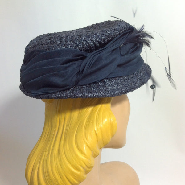 Night Sky Blue Sisal Hat w/ Silk Band, Sequins and Feathers circa 1940s