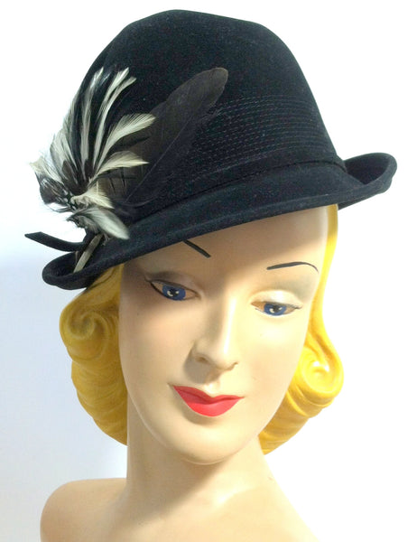 Tall Crown Black Velvet Bowler Style Tilt Hat w/ Feathers circa 1940s