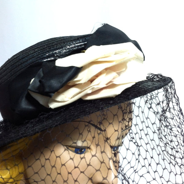 Blush Rose Black Hat w/ Dramatic Veil circa 1940s