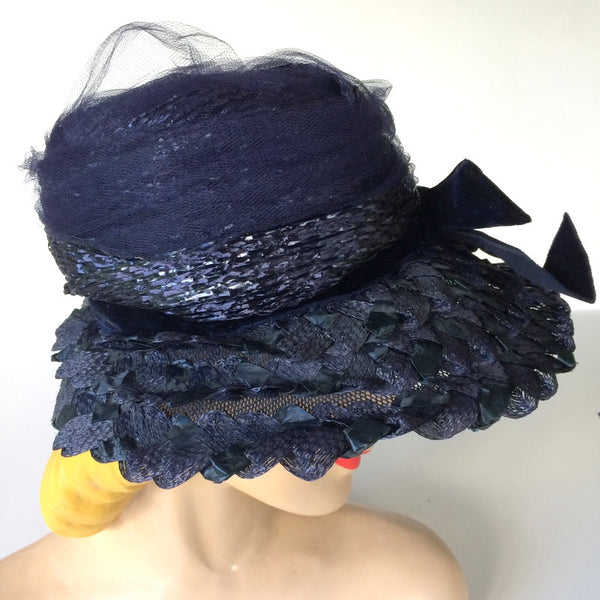Midnight Blue Mesh and Cello Wide Brim Hat circa 1950s