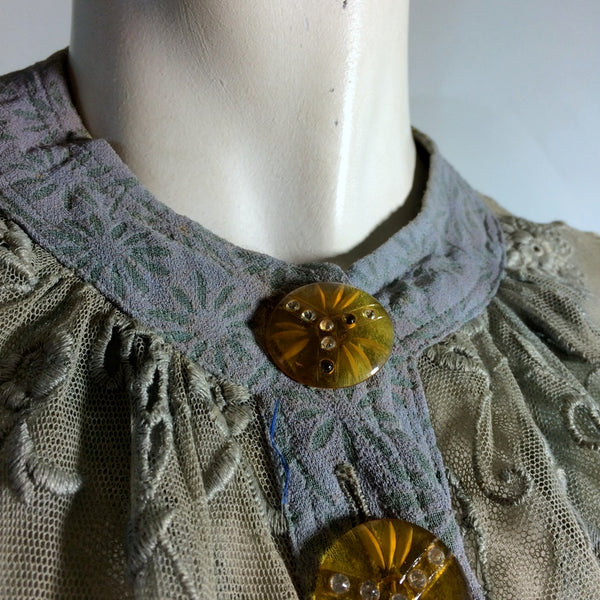 Jeanne Lanvin Adaptation Periwinkle Blue Floral Design Dress Set Rhinestone Buttons circa 1930s RESERVED