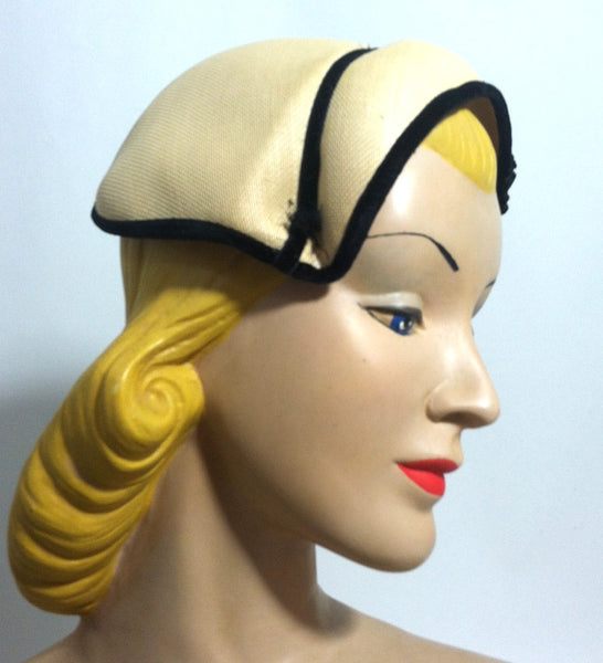 Natural Sisal Wrap Over Hat w/ Black Velvet and Rhinestone Detail circa 1950s