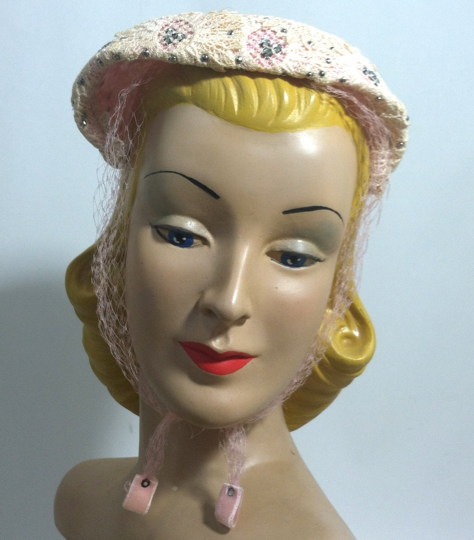 Pink Lace Rhinestone Trimmed Hat w/ Veil circa 1950s Dorothea's Closet Vintage Hat