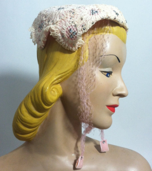 Pink Lace Rhinestone Trimmed Hat w/ Veil circa 1950s