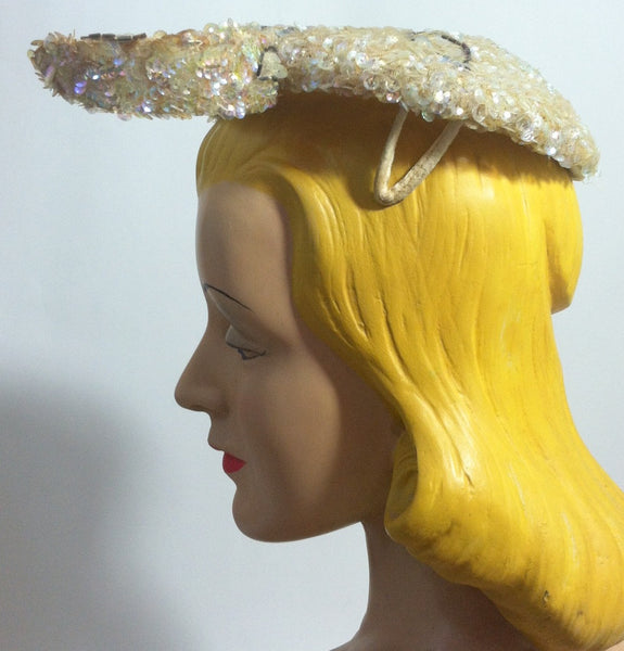Winged Iridescent Sequin Clip On Cocktail Hat circa 1950s