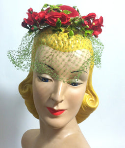 Red Velvet Bump Hat w/ Veil and Red Roses circa 1950s Miss Sally Victor