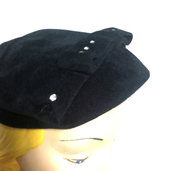 Black Felted Wool Wide Bow Rhinestone Accented Front Brim Hat circa 1950s