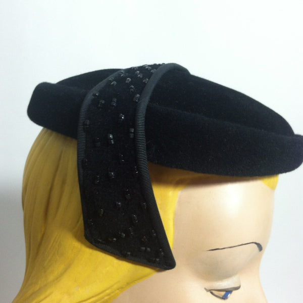 Black Beaded Tab Sided Cocktail Hat circa 1950s