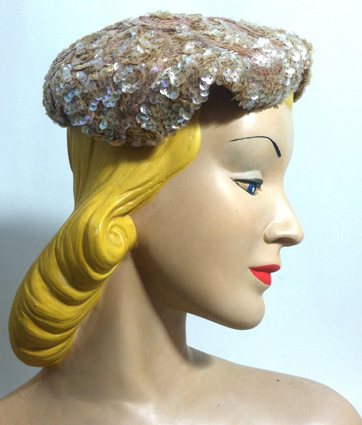 Iridescent Rose Pink Sequined & Beaded Cocktail Hat circa 1950s