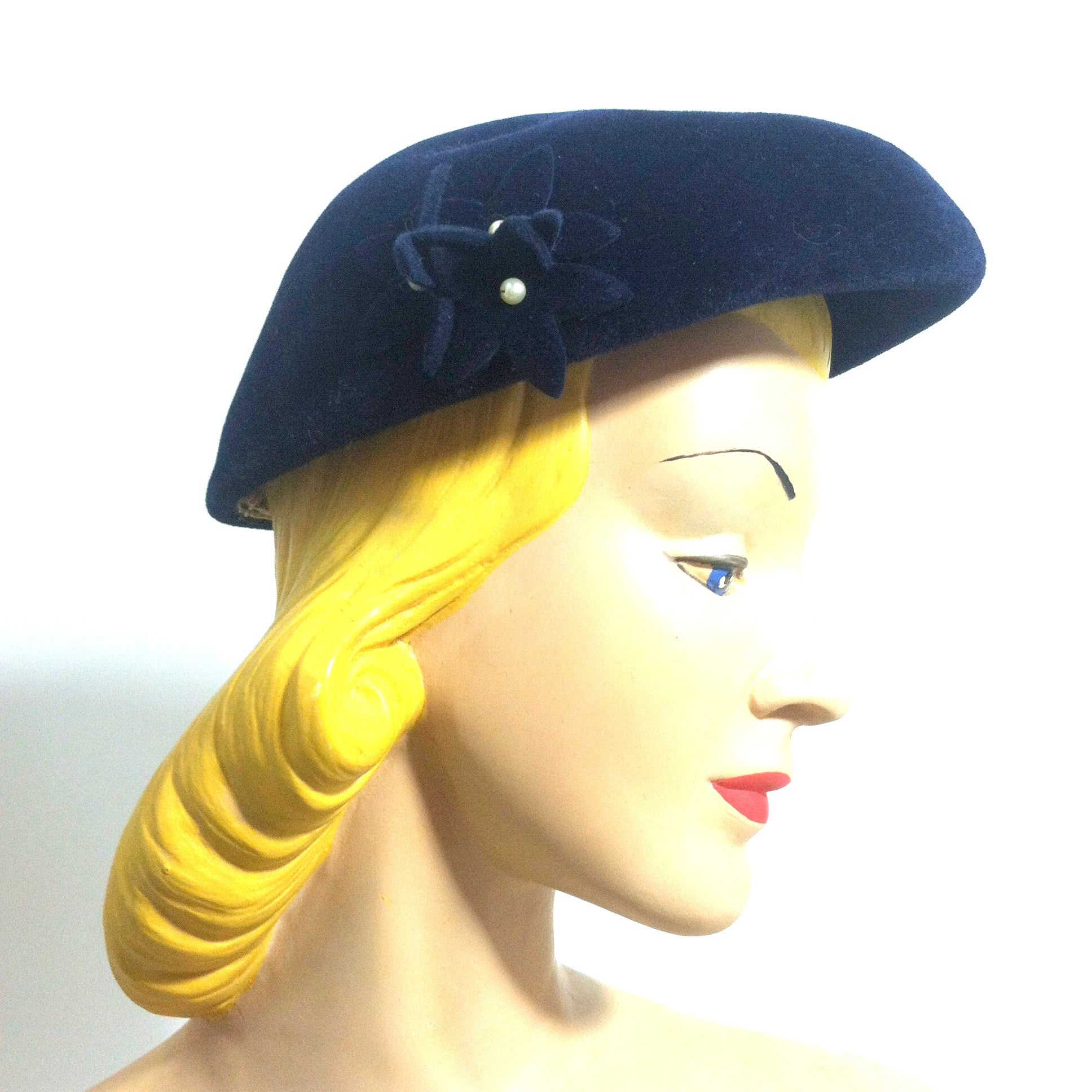 Sapphire Blue Felted Wool Hat w/  3-D Flowers and Faux Pearls circa 1940s