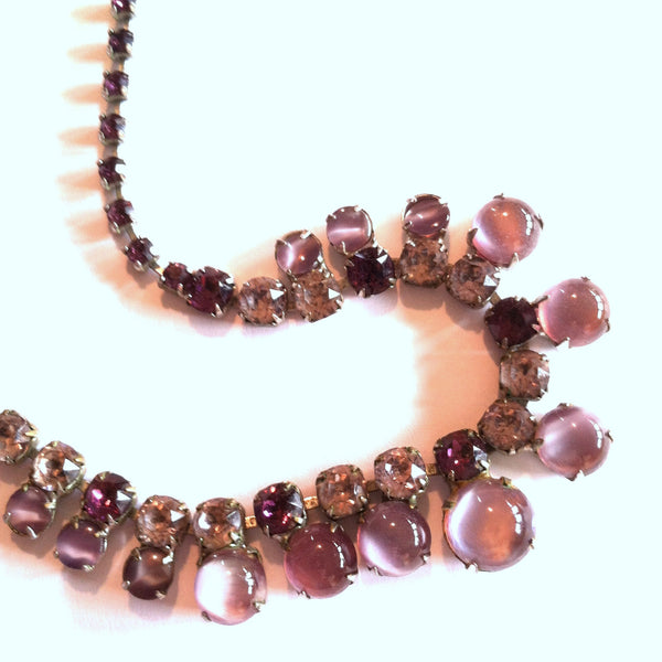 Violet Glass Cabochon Necklace circa 1950s