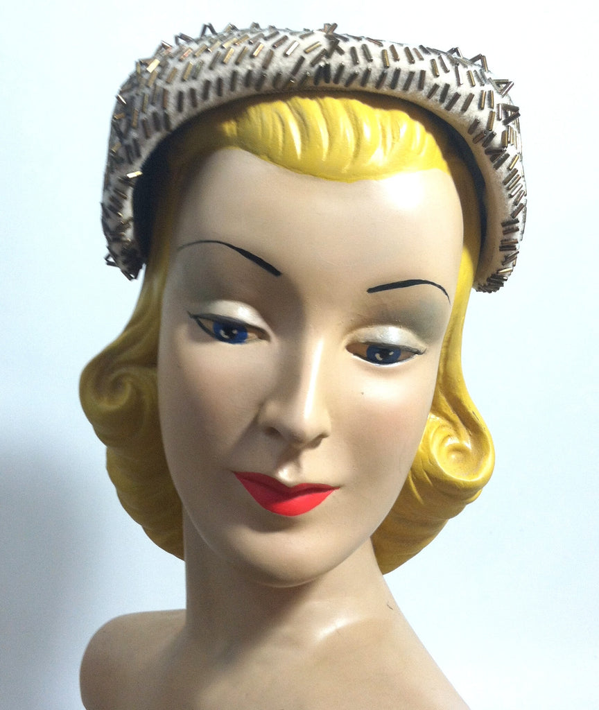 Bronze Beaded Ivory Cocktail Hat circa 1950s Dorothea's Closet Vintage Hat