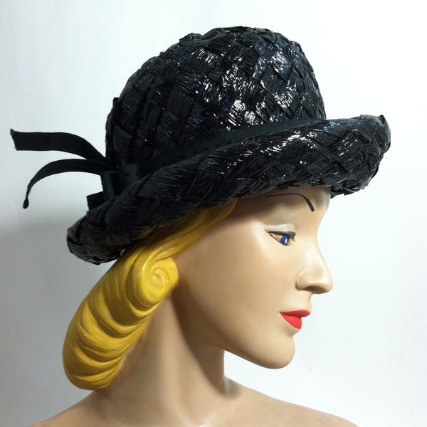 Glossy Black Sisal Curved Brim Mod Hat circa 1960s Dorothea's Closet Vintage Hat