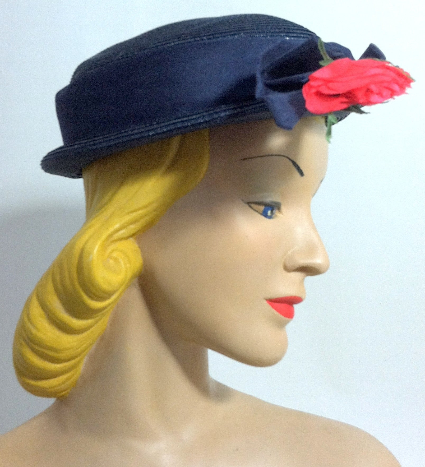 Perky Blue Sisal Short Crown Brimmed Hat w/ Red Rose circa 1950s Dorothea's Closet Vintage Hat