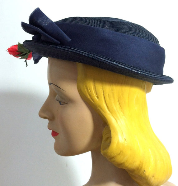 Perky Blue Sisal Short Crown Brimmed Hat w/ Red Rose circa 1950s