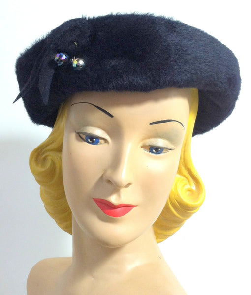 Midnight Blue Felted Fur Slouch Hat w/ Carnival Glass Beads circa 1960s