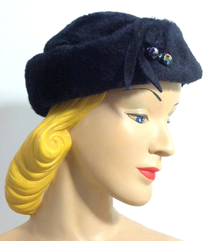 Midnight Blue Felted Fur Slouch Hat w/ Carnival Glass Beads circa 1960s Dorothea's Closet Vintage Hat