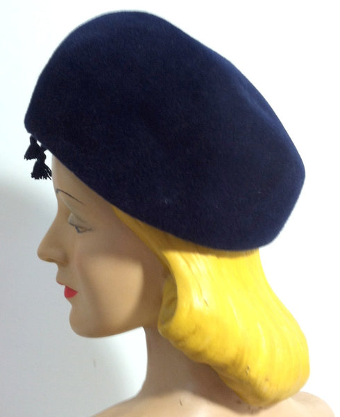 L'Heure Bleue Rounded Velvet Hat with Ribbon and Tassel circa 1960s