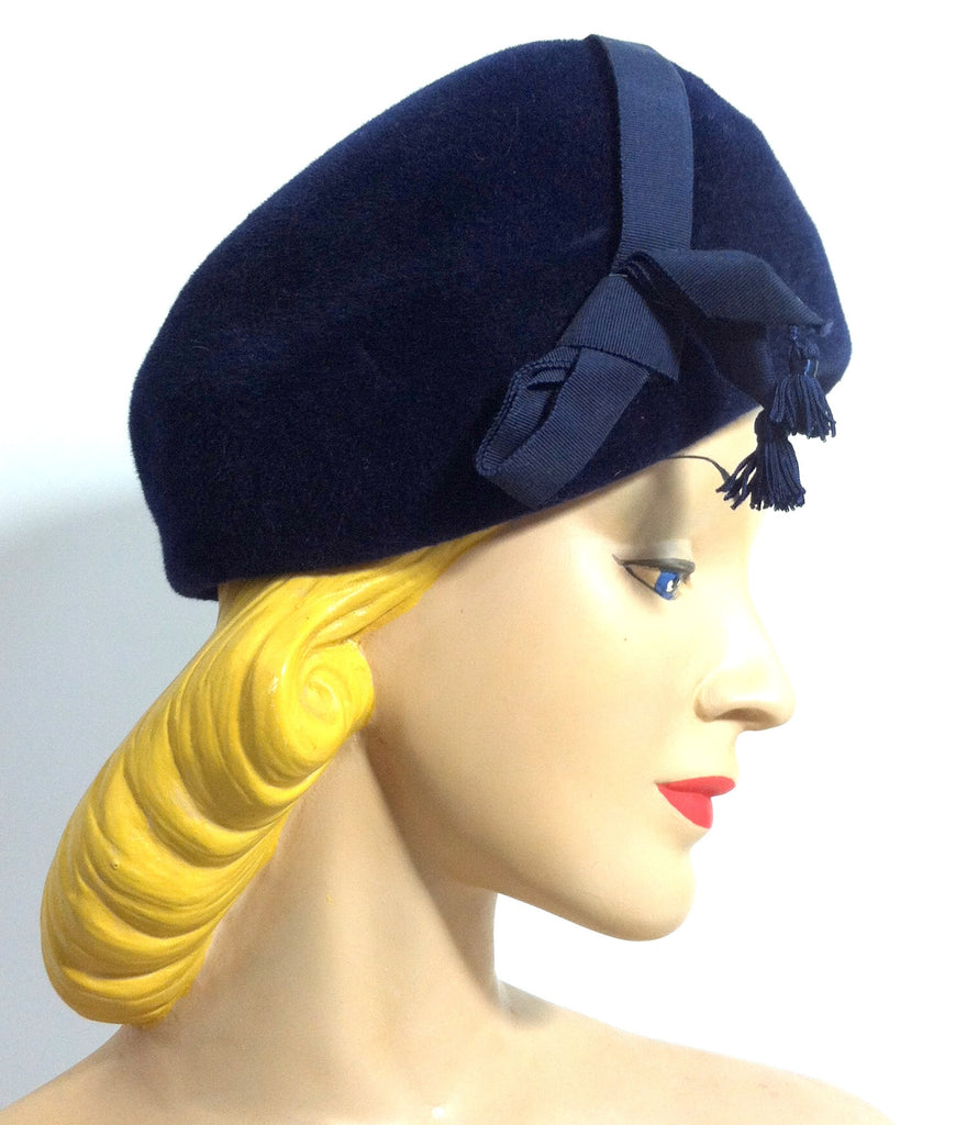 Rounded L'Heuere Bleue Rounded Velvet Hat with Ribbon and Tassel circa 1960s Dorothea's Closet Vintage Hat