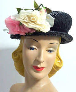 Pretty Perky Pink Rose Trimmed Deep Blue Sisal Narrow Brim Hat circa 1950s