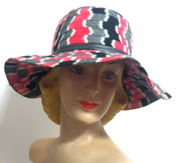 Red, Black and Grey Zig Zag Striped Wool Wide Brim Hat circa 1960s