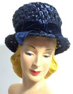 Big Glossy Blue Sisal Bubble Hat w/ Velvet Bow circa 1960s
