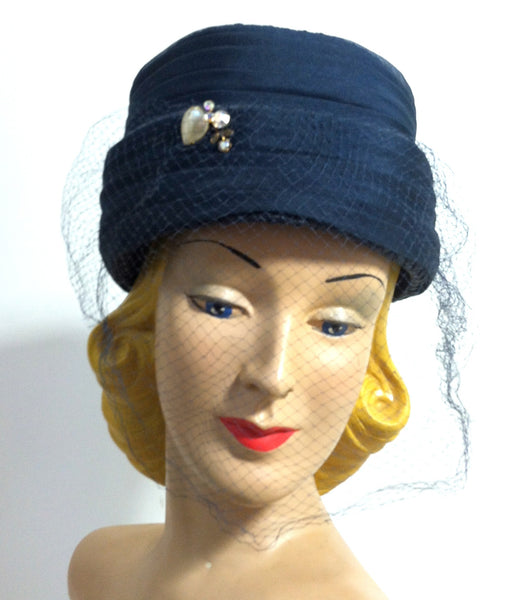 Midnight Blue Silk Tall Pillbox Hat w/ Rhinestones and Veil circa 1960s