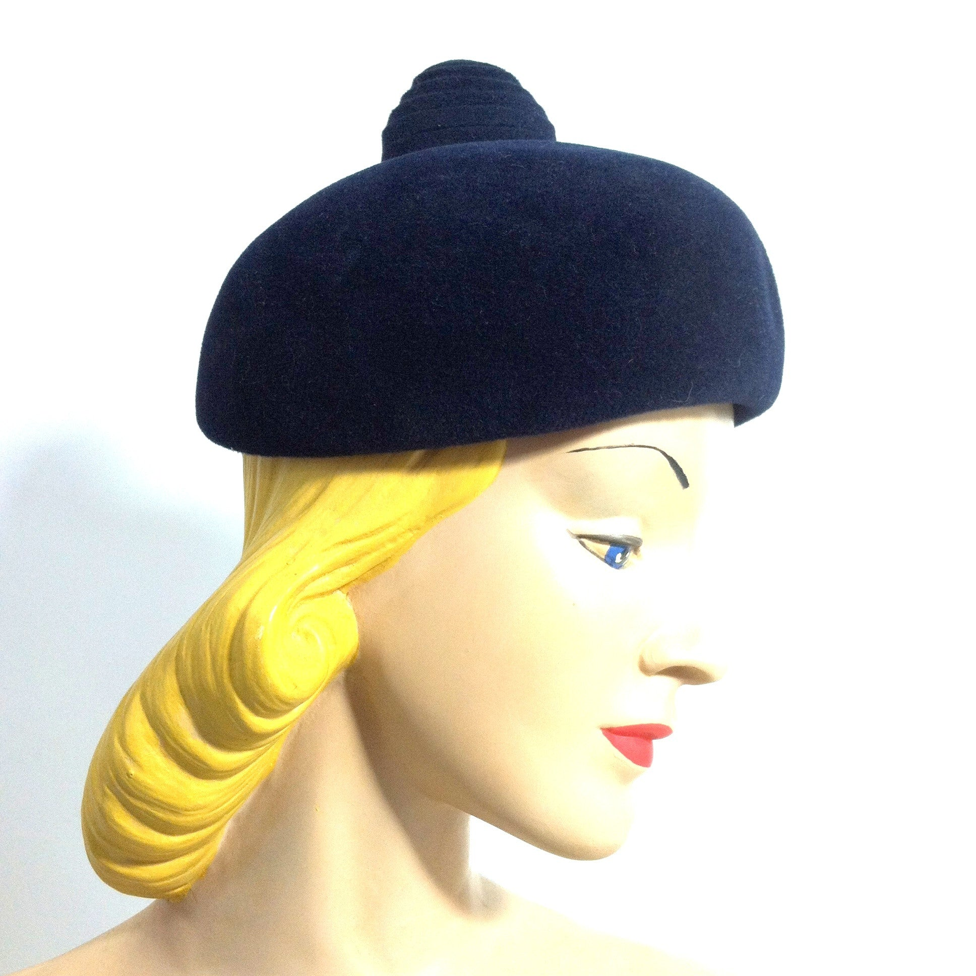 Navy Blue Felted Fur Mod Domed Hat w/ Swirled Fob Top circa 1960s Dorothea's Closet Vintage Hat