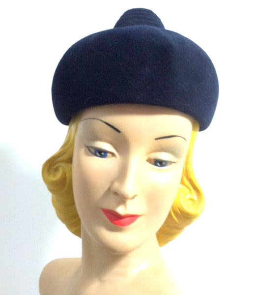 Navy Blue Felted Fur Mod Domed Hat w/ Swirled Fob Top circa 1960s