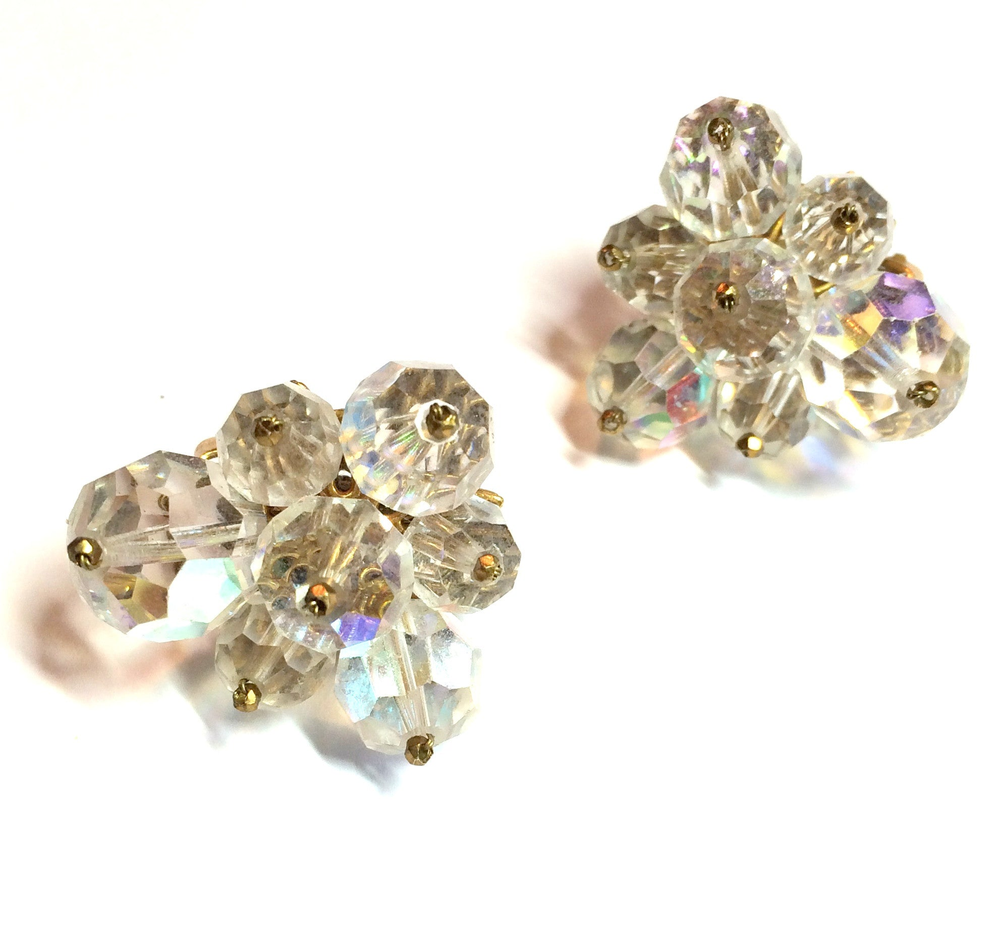 Statement Sized Austrian Crystal Bead Cluster Earrings circa 1950s