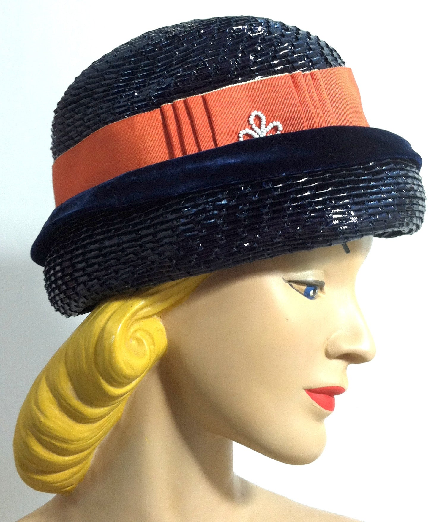 Orange Ribbon Trimmed Elegantly Mod Glossy Blue Sisal Hat w/ Beads circa 1960s Dorothea's Closet Vintage Hat