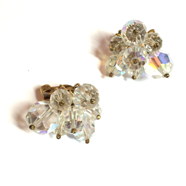 Robert Designer Large Beveled Crystal Clip Earrings circa 1950s
